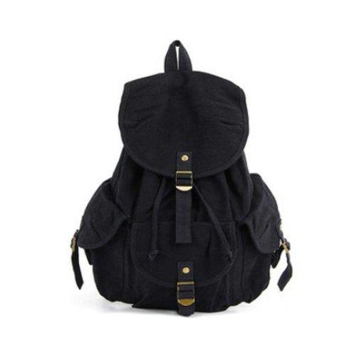Zicac colar mochila de lona mochila de hombro mochila de mujer mochila escolar adolescente (negro)