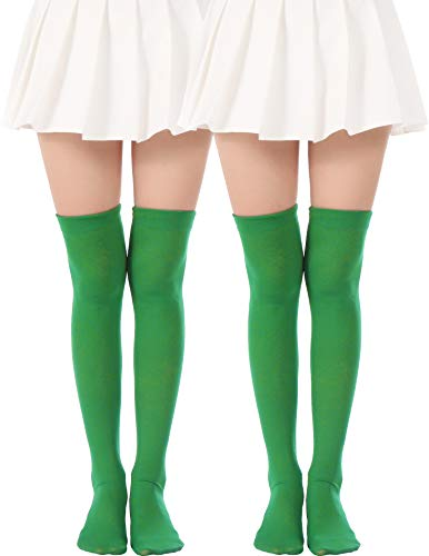 JASMINO Over Knee Long Stockings Solid Thigh High Socks Opaque Costume Stockings Cosplay Knee-High Socks(2 Pairs Green Tights) -