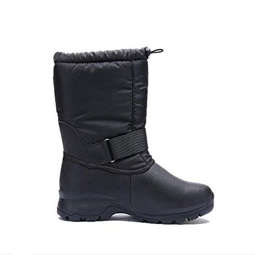 W&XYHombre Botas Invierno Calentar Botas de Nieve Anti-deslizante Senderismo Zapatos black