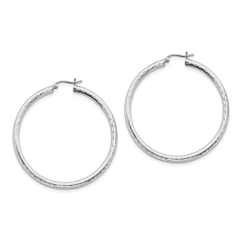 Sterling Silver 3 mm Rhodium Plated Hinged Hammered Hoop Earrings - 50 (3mm Hammered Hoop Earrings)