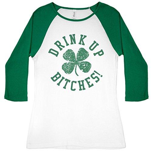 Custom St Patricks Drink Up Bish: Slim Fit Bella 3/4 Sleeve Raglan ()