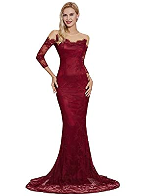 Sisjuly Women's Prom Lace Scoop Neck Mermaid Long Sleeve Evening Dresses