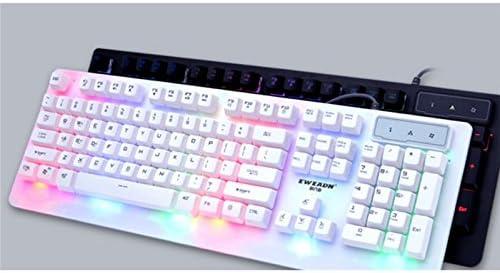 TjcmSs Juego de Teclado y Mouse USB con Cable Juego de Teclado para computadora portátil Light (Blanco)