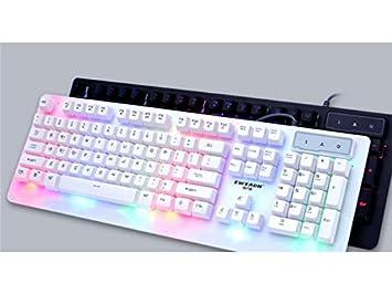 PanpA Multimedia Juego de Teclado y Mouse USB con Cable Juego de Teclado para computadora Portátil Light (Blanco): Amazon.es: Electrónica