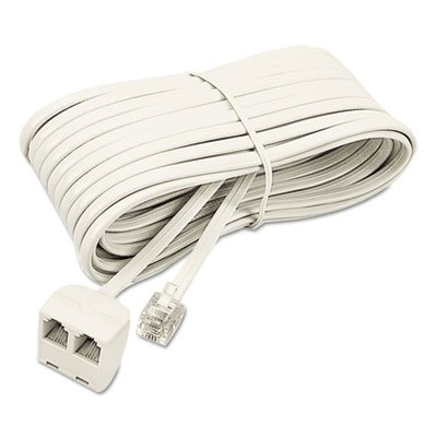 Telephone Extension Cord, Plug/Dual Jack, 25 ft, Almond (5 Pack)