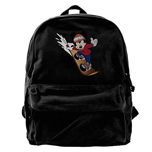c8aea73d1b FOOOKL Mickey Mouse Skateboard Performance Black Canvas Backpack