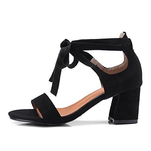 BalaMasa Womens Sandals Huarache Kitten-Heels Urethane Sandals ASL04396 Black nFEEg5