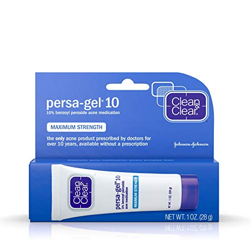 Clean & Clear Persa-Gel 10 Acne Medication Spot Treatment with Maximum Strength 10% Benzoyl Peroxide, Pimple Cream & Acne Gel Medicine for Face Acne with Benzoyl Peroxide Medication, 1 oz