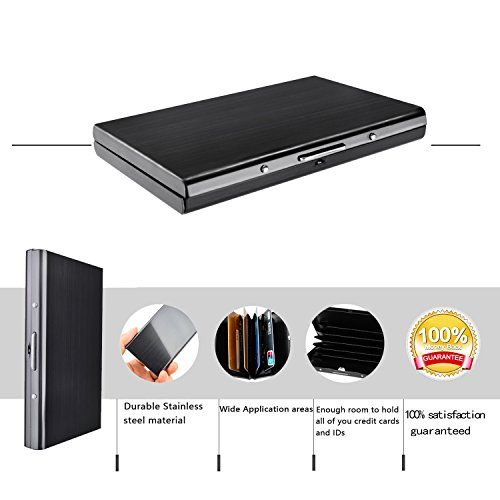 Best RFID Blocking Wallet for Men and Women, Secure Metal Card holder for Travel and Work, Security in Pocket for Credit cards, ID Cards, and Driver License, Top Stainless Steel Slim Wallet Black-Z