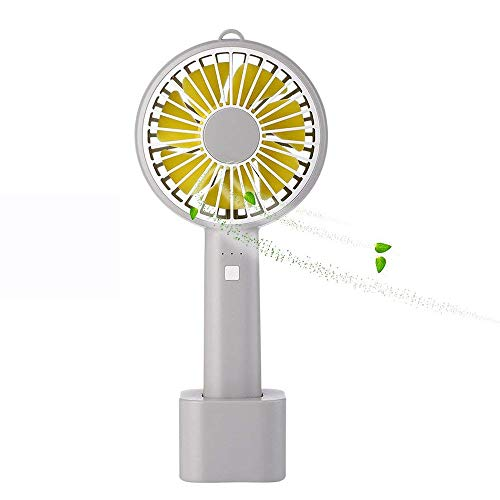 - Mini Handheld Fan, Portable Personal USB Fan, USB Rechargeable Battery Operated Fan with Stand Base - 3 Settings Portable Desk Fan for Office Home Outdoor Travelling (Grey & Yellow)