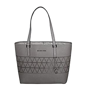 MICHAEL Michael Kors Women's Jet Set Travel Carry All Medium TOTE Leather Handbag (Pearl Grey)