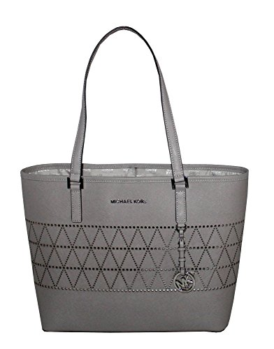 MICHAEL Michael Kors Women's Jet Set Travel Carry All Medium TOTE Leather Handbag (Pearl Grey) (Michael Kors Iphone 5 Cover)