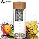SWASH Premium Immuno - T : Tea / coffee cum fruit infuser glass bottle with single glass wall, natural bamboo lid, high corrosion resistance stainless steel strainer (SUS304 food grade), steel infuser (SUS304 food grade) and a complimentary neoprene sleeve - Perfect for green / lemon / organic teas, detoxed water, coffee, fruit infused water!!