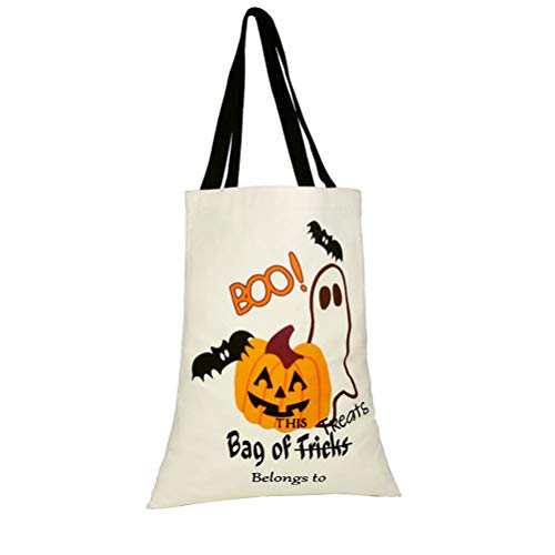 Halloween Personalized Tote Bag Durable Trick or Treat Candy Sack Bags Ghost Pattern Pumpkin Bag, 13x17