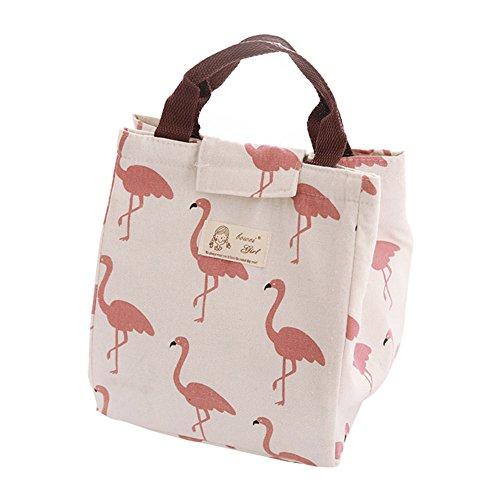 """Petit doigt isolé Dessin Corde déjeuner pique-nique Sac de courses Pochette Portable Lovely Ours Flamingo 7.87"""" x 6.69"""" x 9.45"""" blanc"""