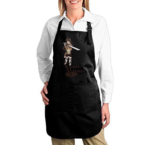 Attack On Titans Eren Yeager Logo Unisex Kitchen Cooking Grilling Apron Black ()