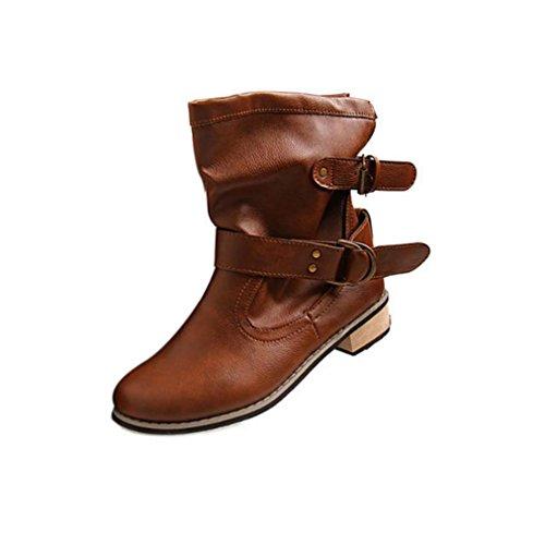 Transer® Damen Kurz Stiefel & Stiefeletten Mode Synthetisches Kunstleder+Kunststoff Schuh Stiefel Braun
