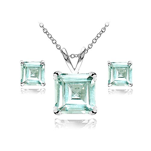 Sterling Silver Aquamarine Square Solitaire Necklace and Stud Earrings Set (Aquamarine Square Earring)