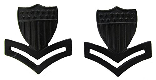 Rank Guard Officer Coast (Coast Guard Black Metal Pin-On Rank - E-5 PO2 - Pair)