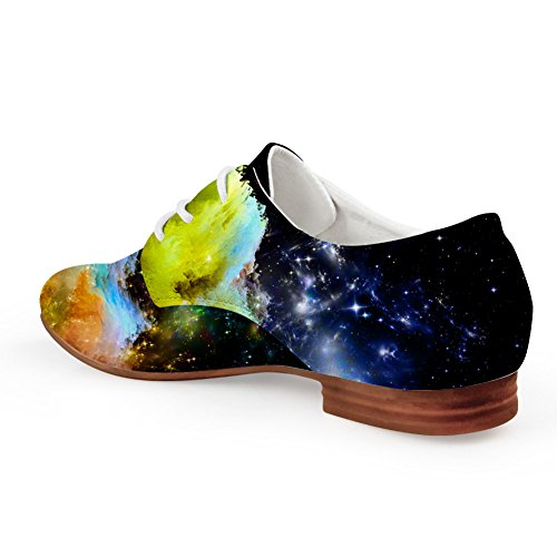 Scarpe Stringate Piatte In Pelle Sintetica Casual Oxford Flats Fashion Galaxy Star Print Shoes Space 1