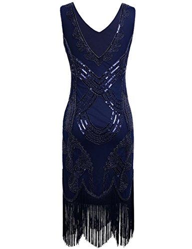 Perlen Flapper Damen Kayamiya Pailletten Kleid Franse Gatsby Floral Noble 1920er Blau Retro Jahren dIdqfzw