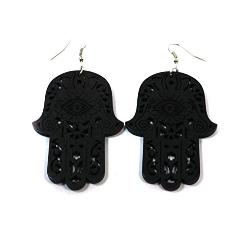 Palm Earrings Wood (Teri's Boutique Wood Style Hamsa Eye Hand Palm Fashion Jewelry Dangle Drop Earrings (Black))