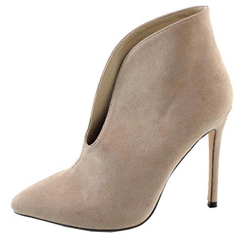 Elegant Footwear Women's Vamp Stiletto Heel Pointed Toe Ankle Bootie (7 B(M) US, Nude)