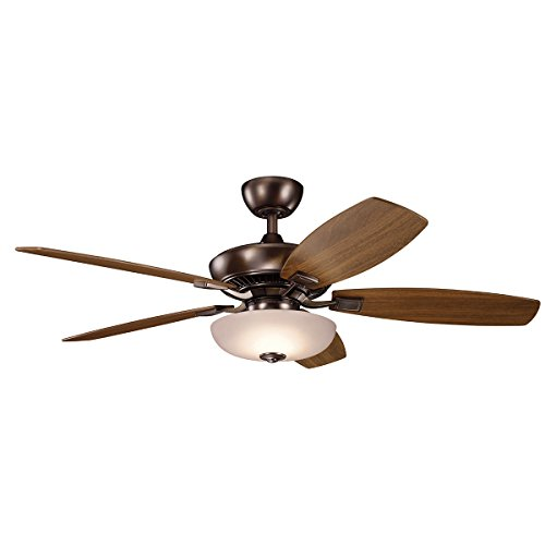 52' Canfield Fan - Kichler 330013OBB 52 Inch Canfield Pro LED Ceiling Fan, 3 Speed Wall Control Ltd Function, Oil Brushed Bronze Finish with Cherry/Walnut Blades