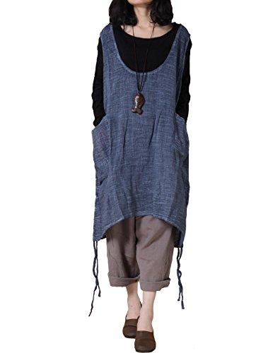 Mordenmiss Women's Autumn Vest Dress Pull-Up Hem Linen Top with Pockets L Blue