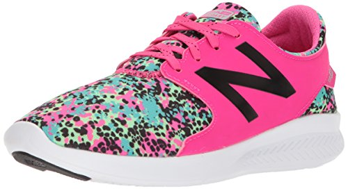 New Balance Girls' Coast v3 Running Shoe, Pink Glo/Green, 4 M US Big Kid (New Balance Tennis Shoes For Kids)