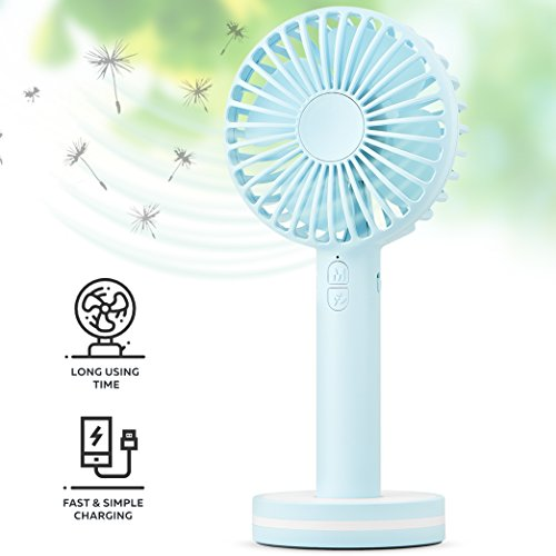- Function Labs Personal Mini USB Handheld Cooling Fan - Rechargeable, Compact, Portable, Adjustable 3 Fan Speed and Perfect for Kids/Camping- Comes with Magnetic Mirror Base (Blue)