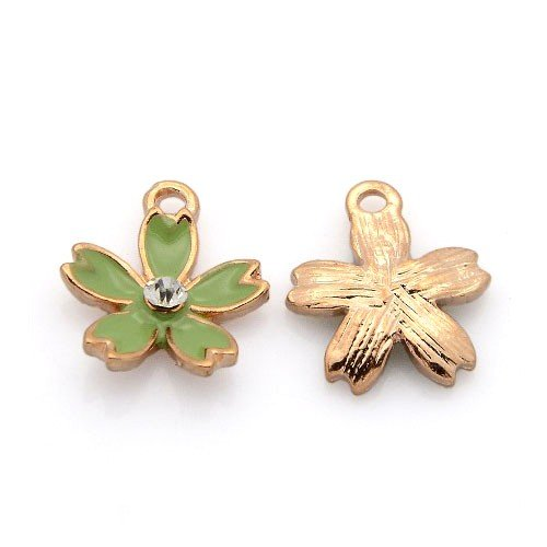 3 x Rose Gold/Green Enamel & Alloy 16 x 18mm charms pendants (flower) - (Y06895) - Charming Beads Something Crafty Ltd