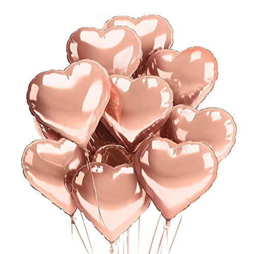 Uplord 10Pcs Heart Balloons,Happy Birthday Decor Balloons Kit Rose Gold Birthday Banner Confetti Balloons,18inch ()