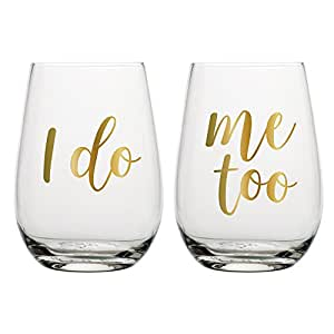 I Do/Me Too Stemless Wine Glass Set - 20 oz Stemless Wine Glasses (Perfect Wedding Gift, Bridal Shower Gift, Engagement Gift, Newlywed Gift)