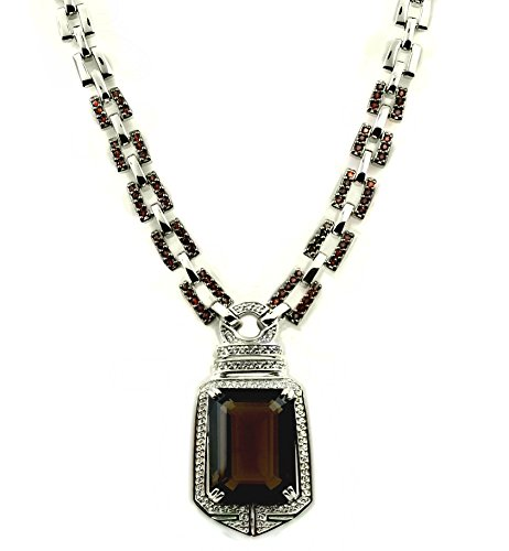 RB Gems Sterling Silver 925 STATEMENT Pendant Necklace GENUINE GEMSTONE 24 mm with RHODIUM-PLATED Finish (smoky-quartz) by RB Gems