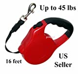 Retractable Dog Leash, 2 Release Stop Buttons, 16ft Belt, Abs, up to 45 Lbs, Red, My Pet Supplies