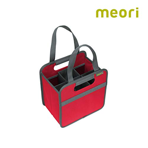 meori 6 Bottle Hibiscus Red/Organize Crate Glass Dividers Stylish Travel Storage Box Liquor Spirits Tastings Grocery Shopping Hostess Gift Wine Carrier, ()