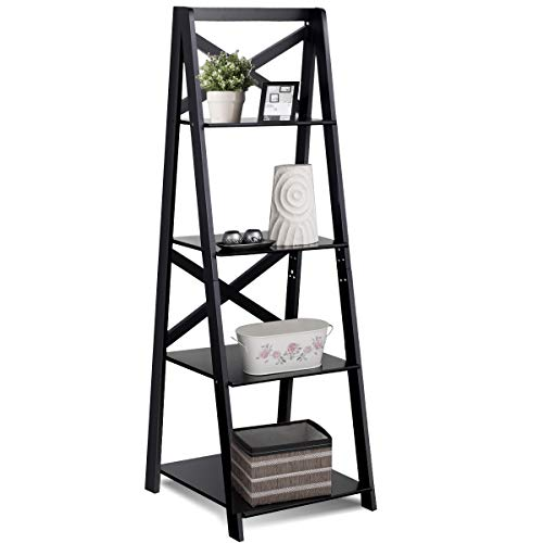 Tangkula 4-Tier Ladder Shelf Bookcase Leaning Home Office Free Standing Wooden Frame Decor Bookshelf Storage Flower Shelf Display ()