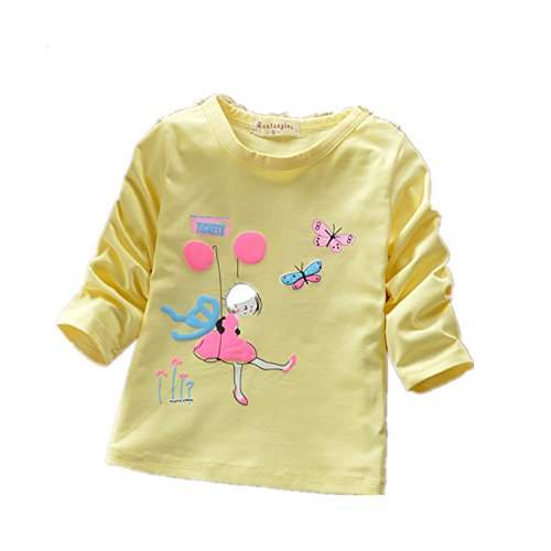 ftsucq-little-girls-long-sleeve-cartoon-butterfly-pattern-tee-shirtsyellow-l