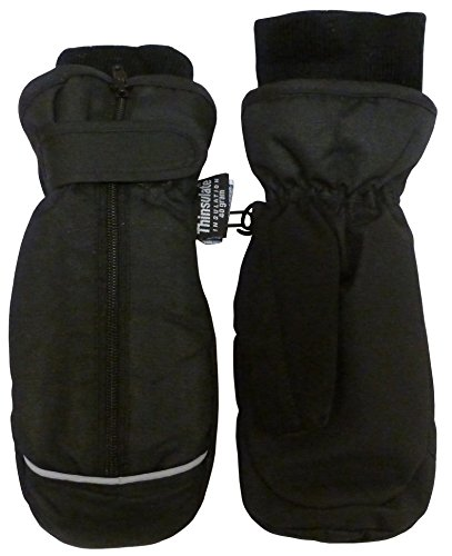 N'Ice Caps Kids Thinsulate and Waterproof Easy On Zip-Up Mittens (3-5 Years, Black Solid/Reflector)
