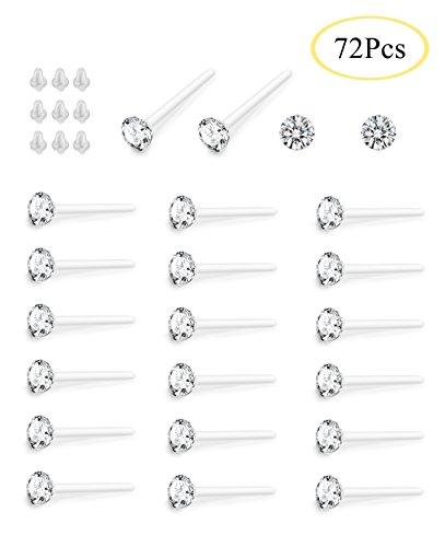 Hanpabum Clear Crystal Hypoallergenic Stud Earrings Set Piercing Jewelry For Women Men 36 Pairs (White)