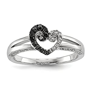 ICE CARATS 925 Sterling Silver White Black Diamond Heart Band Ring Size 6.00 S/love