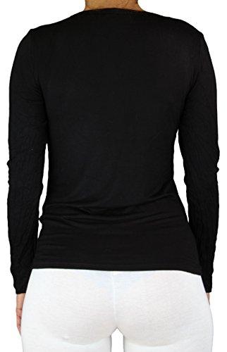 T-shirt Mujer Top con manga larga Longsleeve Sweat-shirt con cuello redondo en varios colores Noir