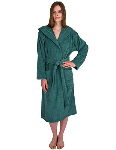 TowelSelections Womens Robe Turkish Cotton Hooded Terry Bathrobe Medium/Large Deep Sea