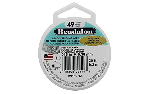 Beadalon 49-Strand Bead Stringing Wire, 0.015-Inch, Satin Gold, 30-Feet