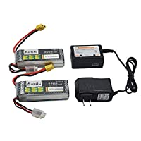 Blomiky 2 Pack XT60 Plug 11.1V 3S 2200mAh Lipo Battery and 1 Charger for RC Evader BX Car RC Truck RC Truggy RC Airplane UAV Drone FPV 11.1V 2200mAh XT60 2
