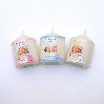 VELAS PINSART Vela Regalo de bautizo Personalizada con la fotografia del bebé medidas 5x4 cm en color,rosa, blanco o azul. (blanco)