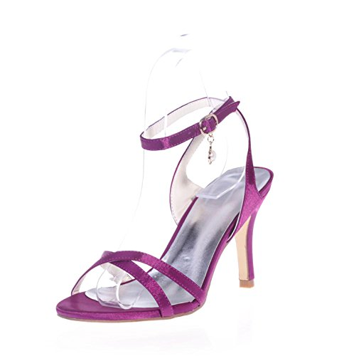 L@YC 9920-02 Women's High Heel Sandals Pendant Satin/Party & Evening Wedding Shoes Peep Toe Night &/Platform Patent Purple