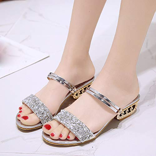 Femme Romaines Chaussures Bling Sandales Grande Strass Paillettes Bouche Party Mode Mince Poisson Argent mounter Femmes Sexy Taille 7qnqrOdY