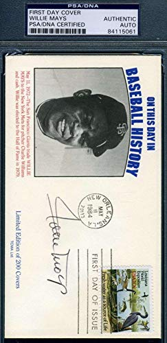 WILLIE MAYS Coa Autograph 1984 FDC Hand Signed Authentic PSA/DNA Certified MLB Cut Signatures